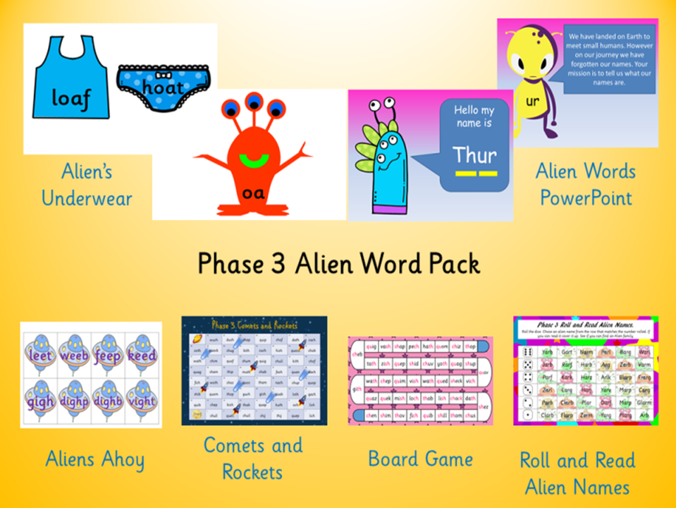 Phonics Phase 3 Alien Word Pack