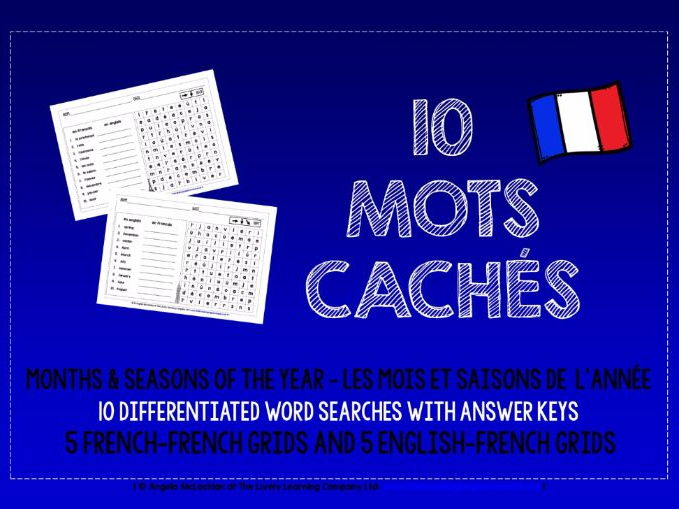 PRIMARY FRENCH - MONTHS & SEASONS OF THE YEAR - 10 DIFFERENTIATED WORD SEARCHES
