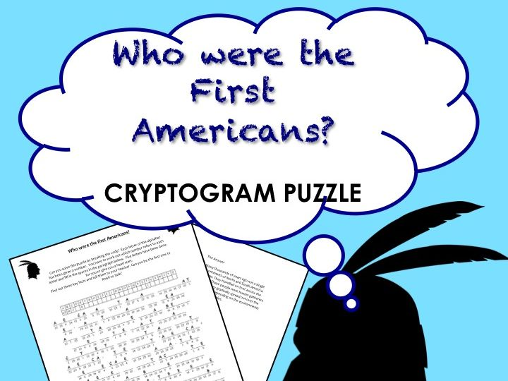 Who were the first Americans? Native American Cryptogram puzzle