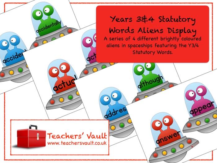 Years 3 & 4 Statutory Words Aliens Display