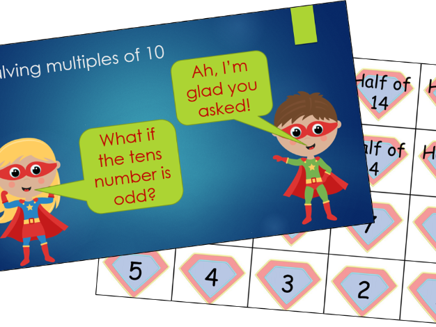 Halving multiples of 10 - yr3 complete lesson (suitable for home learning too!)