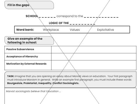 AQA - GCSE - Marxism Education Worksheet