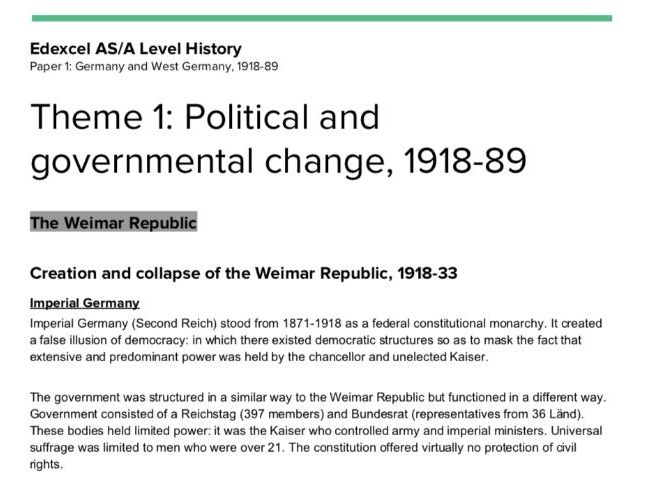 Edexcel AS/A Level History - Paper 1, Route G; Germany and West Germany 1918-89; Theme 1