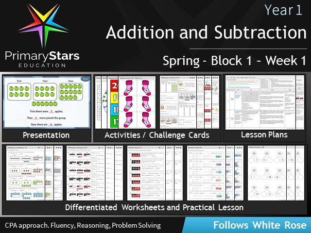 YEAR 1 - Addition - White Rose - WEEK 1 - Block 1 - Spring- Differentiated Planning & Resources