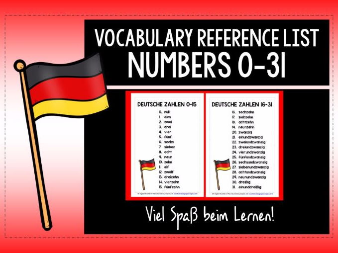 GERMAN NUMBERS 0-31 REFERENCE SHEETS