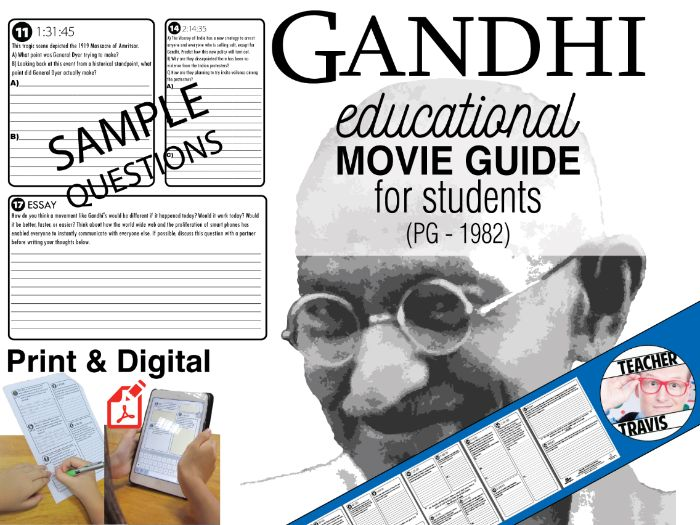 Gandhi Movie Guide | Questions | Worksheet (PG – 1982)