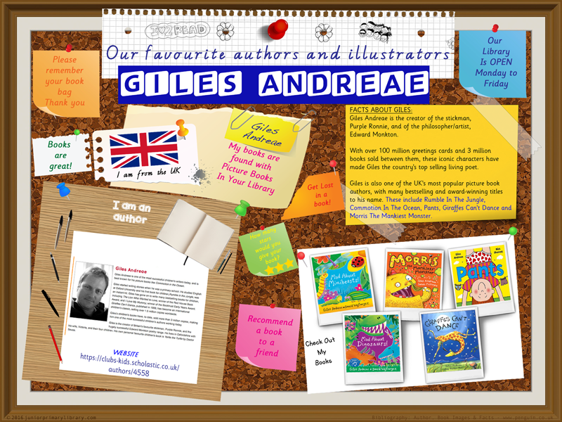 Library Poster - Giles Andreae Author Of Picture Books