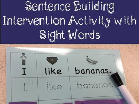 Sentence building intervention activity with sight words
