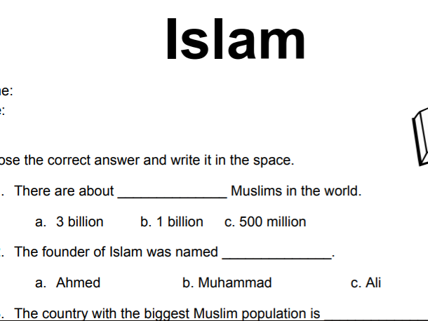 Free Introduction to Islam Worksheet