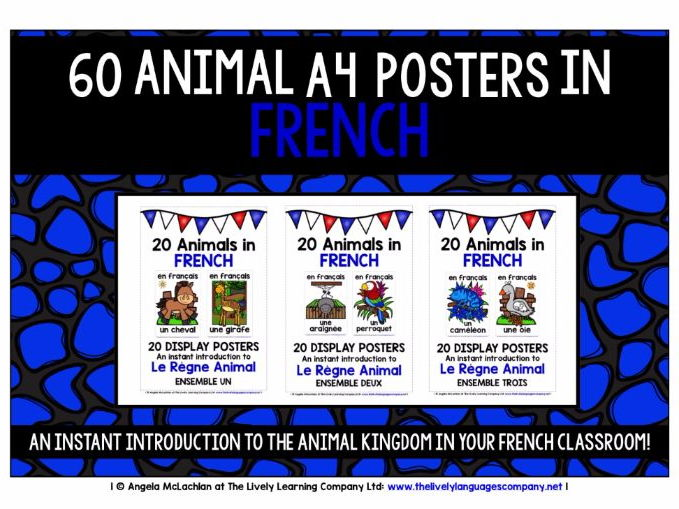 FRENCH ANIMALS - 60 POSTERS / FLASHCARDS PACK