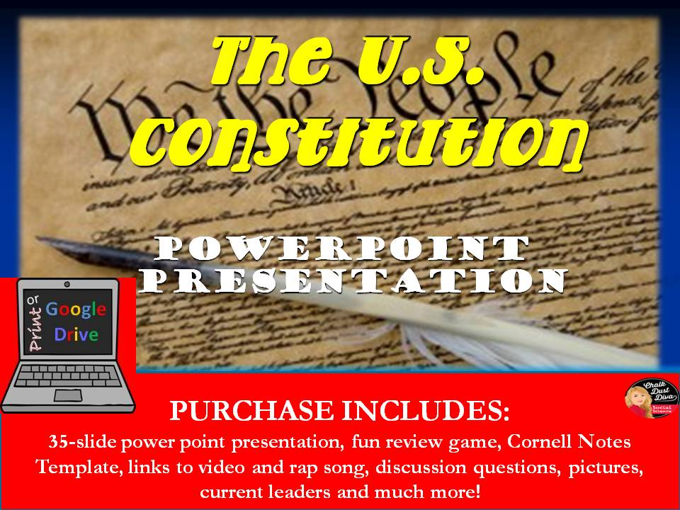 The U S  Constitution Lecture and Review Game Power Point Print or Google  Drive versions included!