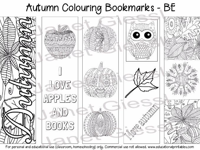 Autumn Colouring Bookmarks (British English) - Set of 5