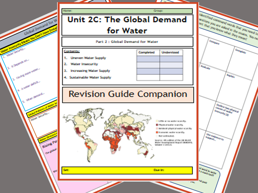 GCSE AQA 9-1 : 2C Resource Management  - Water-Flipped Learning Revision Guide Companion