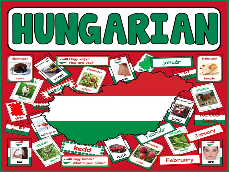 HUNGARIAN LANGUAGE TEACHING RESOURCES display posters flashcards colours food