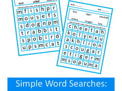 Simple Word Search Puzzles in Large Print, Autism, Special Education, SEND