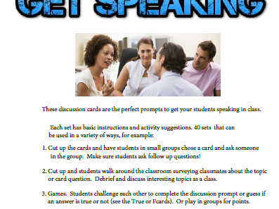 Get Speaking Discussion Cards