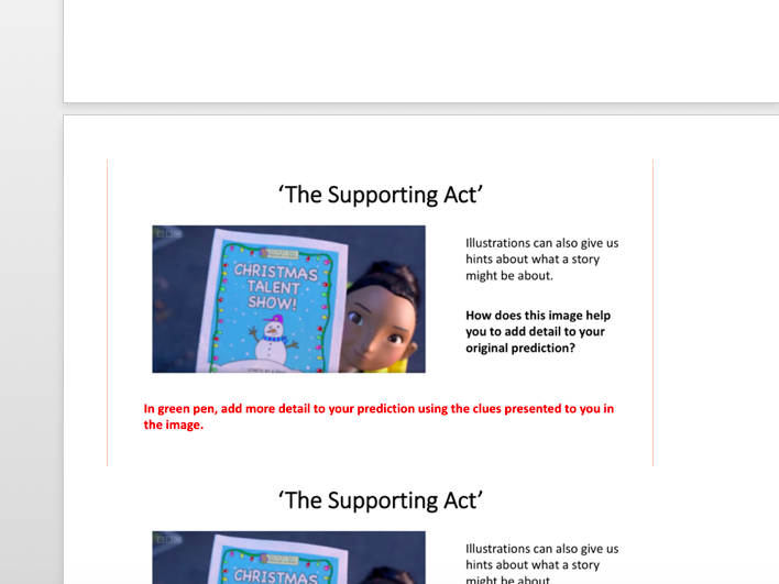 Year 6 - Making Predictions - The Supporting Act Lesson 1
