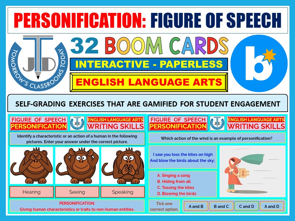 PERSONIFICATION - FIGURE OF SPEECH: 32 BOOM CARDS
