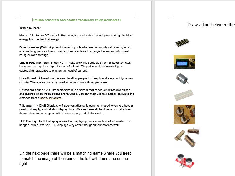 Arduino Sensors & Accessories Worksheet