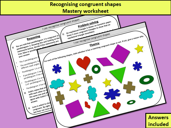 Recognising congruent shapes - mastery worksheet