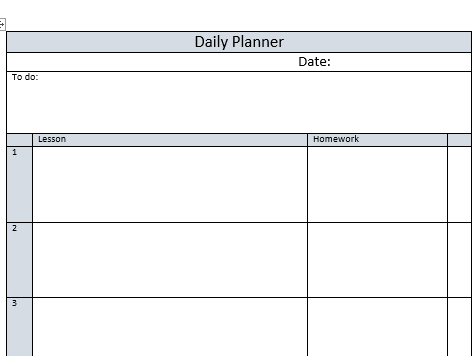 Teacher Planner Page with 5 Lessons