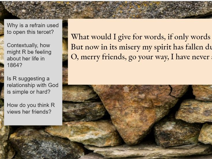 What would I give- Christina Rossetti A Level  lesson