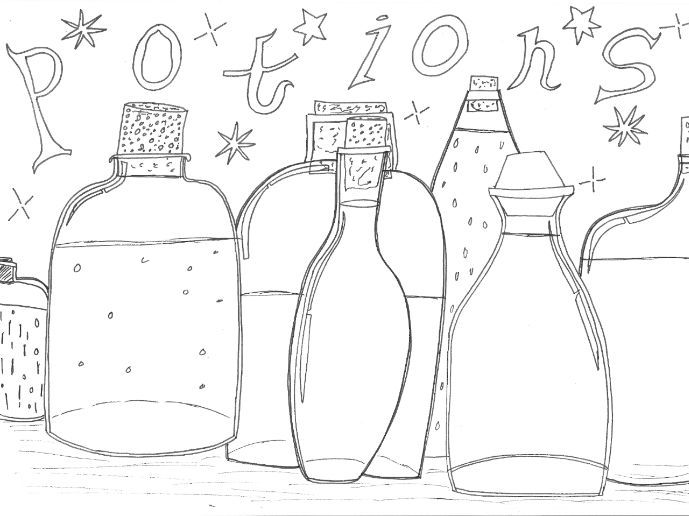 Halloween: Potions Colouring Sheet