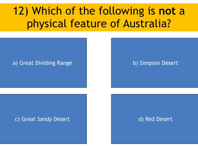 KS3 Geography: Australia quiz