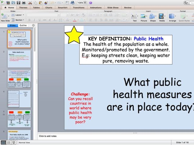 Edexcel 9-1 Chadwick and Public Health Acts Lesson