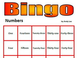 Numbers Bingo in Words (with Powerpoint Calling)