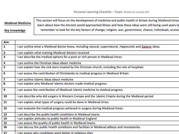 Health and the People Knowledge organisers GCSE HISTORY + keywords and learning check list AQA GCSE