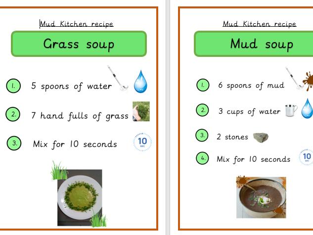 Mud Kitchen Recipe Cards