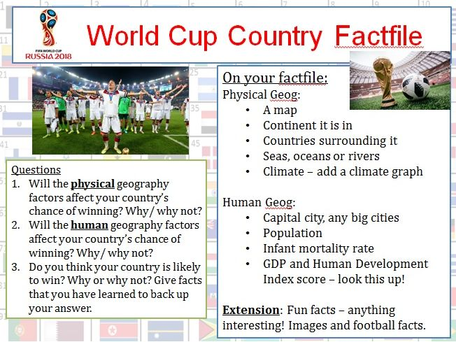 Geography 2018 World Cup Factfile