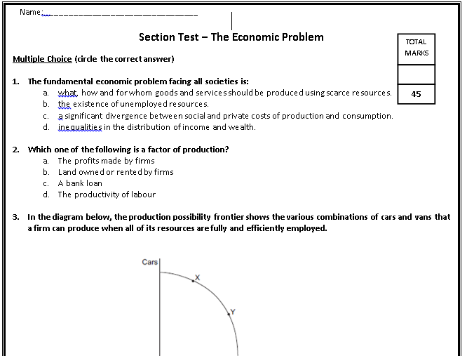 2016-17 AQA GCE AS Level Economics Microeconomics Section Tests & Marks Schemes