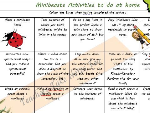 Minibeasts Home Learning Activity Grid