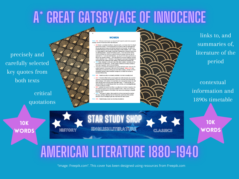 A* Great Gatsby/Age of Innocence comparison A Level English Lit