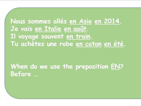GCSE French how to use prepositions