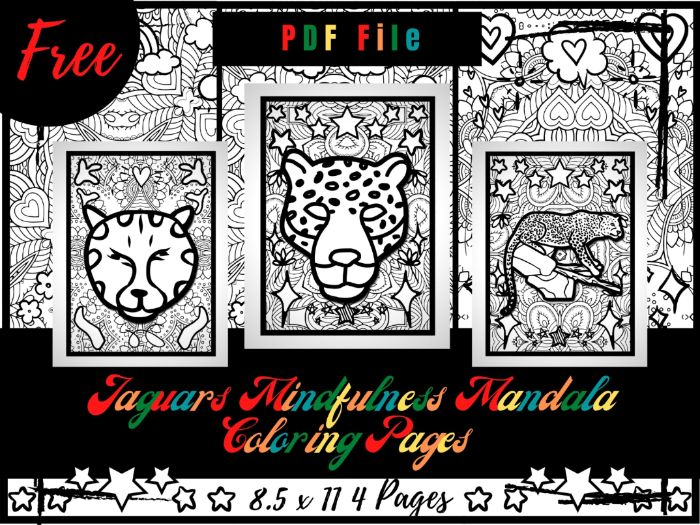 FREE Jaguars Mindfulness Mandala Coloring Pages, FREE Animals Coloring Printable Sheets PDF