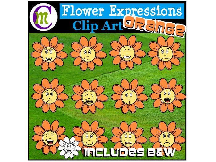 Flower Emotions Clipart | Orange Flowers Clip Art