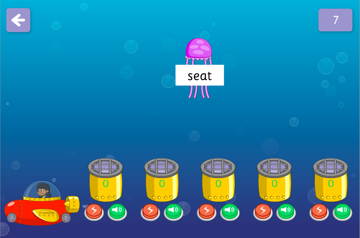 Graphemes Identify the Phoneme - Zap the Fish Interactive Game - Phase 5