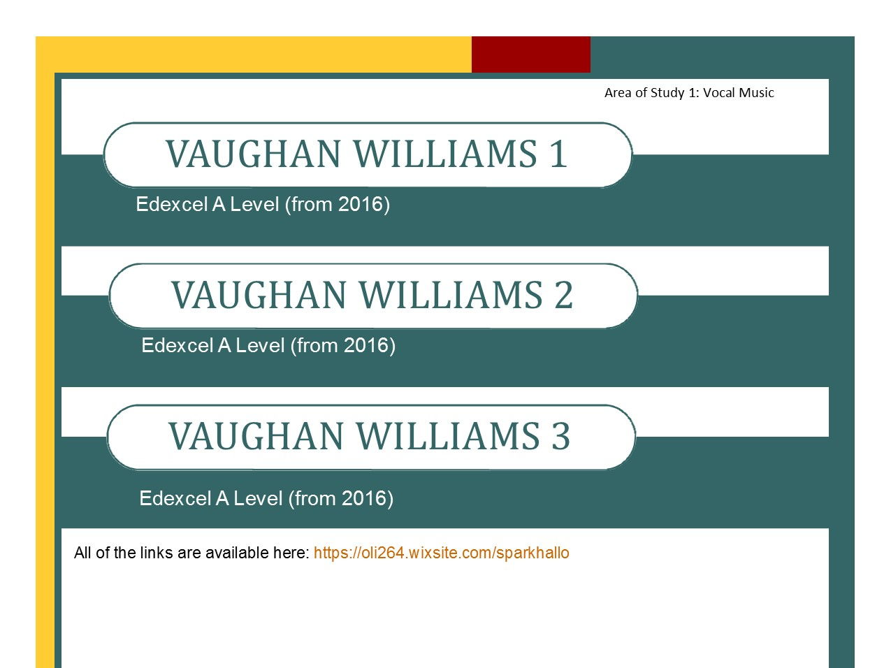 Edexcel Music A Level Bundle of Vaughan Williams 1, Vaughan Williams 2 and Vaughan Williams 3 - Loads of Wider Listening
