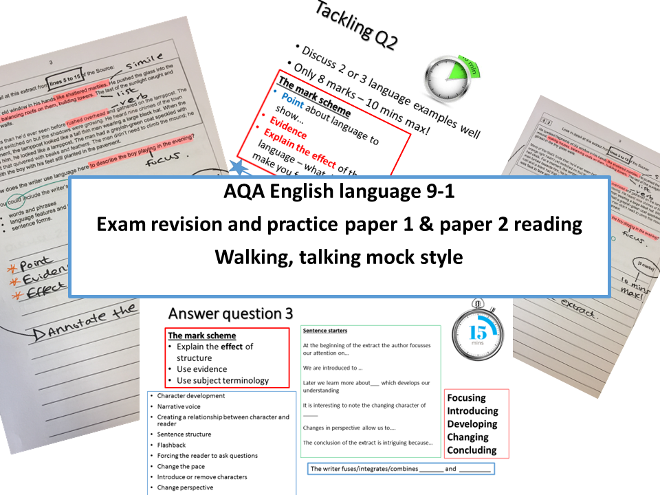 AQA new specification English language exam revision TWO  paper 1 and paper 2 reading - WALKING TALKING MOCK STYLE