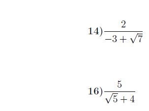 Rationalising the denominator worksheet (with solutions)