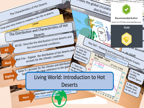 Desert Distribution and Climate GCSE AQA 9-1 Living World. Full lesson and support materials