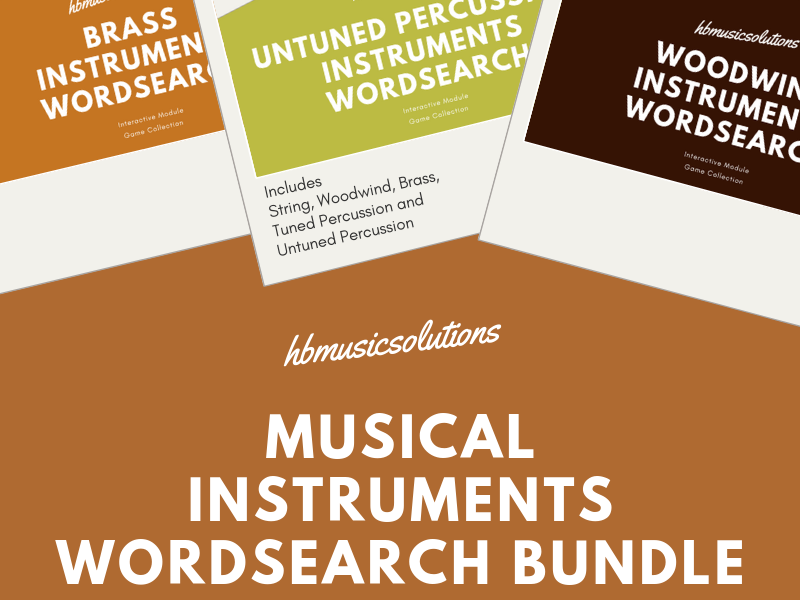 Musical Instruments Music KS2/KS3 Interactive Wordsearch Bundle
