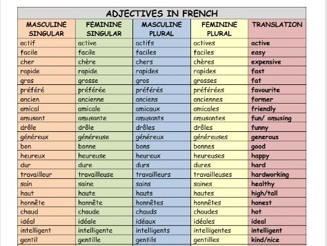 French Adjectives Mat (80 adjectives)