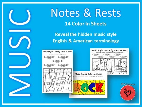 Music Styles - Color by Notes and Rests - 14 Print & Go Sheets