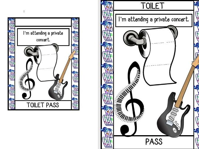 Funny Toilet Passes (Hall Pass, Outside of Class Card)
