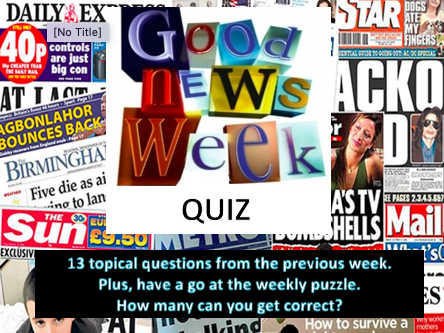 Weekly News Quiz with puzzle wc 28/9/20