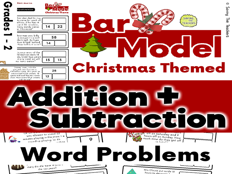 Christmas Addition and Subtraction Bar Model Word Problems - Years 1 and 2